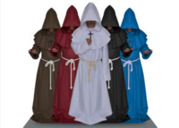 Wholesale 1pc Medieval CostumeFor Women Men Vintage Renaissance Monk Halloween Cosplay Cowl Friar Priest Hooded Robe Cloak Rope Cape Clothing