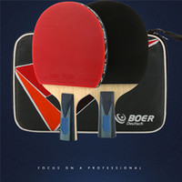 Wholesale 1pcs Table Tennis Racket Ping Pong Paddle Long Short Handle Professional Carbon Table Tennis Racket Balls Bag Film