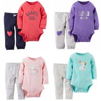 Unisex baby pants pack - Pack Baby Sets Long sleeved Bodysuits Pants Baby Boys Girls Cartoon Dot Striped Clothing Suit Kids Clothes V49