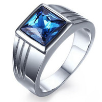Wholesale New Fashion Blue Crystal Stainless Steel Men Wedding Ring For Male Party Rings jewelry Size