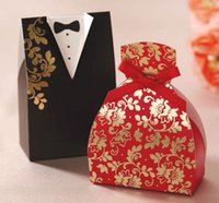 Wholesale pieces Wedding Candy Box Red and Black Color For Wedding Decorations Bride and Groom Wedding Favor Boxes