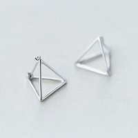 Wholesale Fashion Triangle Stud for Women Sterling Silver Korean Geometry Earrings Brief Female Ear Clip M0002