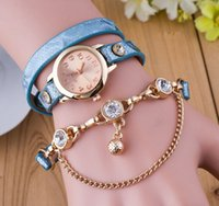 bell battery - Ladies Bracelet Watch Rose Gold Roped Fashion Smart Dress Genuine Leather Strap Wristwatches Locket Bell Pendant Diamond Beads Dangle Gift