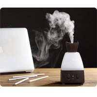 Wholesale CAROLA Electric Fragrance Diffuser Wood Essential Oil Diffuser Warm LED Lights Changing ML Mist Diffuser for Home Office Dark wood