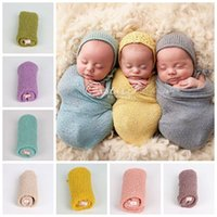 Wholesale Baby Photography Props Wrap Swaddle Newborn Stretch Knit Wrap Blanket Parisarc Bedding Sleepsacks Scarves Baby Newborn Photo Props F247