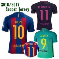 Wholesale 16 soccer jerseys best quality Fan Version Training MESSI SUAREZ NEYMAR JR A INIESTA soccer shirts