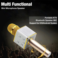 Wholesale Luxury Wireless Microphone Bluetooth Speaker with mAh Large Capacity Battery Q7 Karaoke Loudspeaker for Iphone plus Samsung KTV music