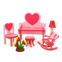 Wholesale DIY Mini Furniture Children s Educational Wooden Dollhouse Furniture Toy D Woodcraft Puzzle Construction Kit Toy