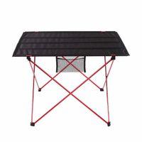 aluminium folding camping table - Foldable Folding Table Ultra light Picnic Camping Desk Outdoor Aluminium Alloy Waterproof Oxford Fabric Red Silver