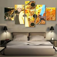 Wholesale 5 Panels Unframed Wall Art Painting Naruto Hanging in Home Decoration