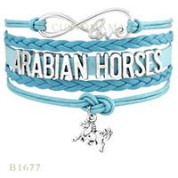 arabian horses - Custom Infinity Love Arabian Horses Horse Charm Wrap Bracelets Christmas Gifts Women Bracelets Aqua Pink Black Blue Leather Bracelets