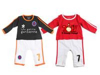 baby ronaldo - Bebe soccer cotton suit THE NEW BALCK RED bebe ROMPER baby sport clothing for M Ronaldo