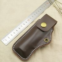 Wholesale Cow Leather Knife Cover Folding Plier Clip Case Scabbard Waist Pack Molle Pouch Bag Brown Color Tools Holster