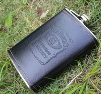 Grossiste-9 Oz en acier inoxydable flasque en cuivre bouteille de vin de whisky rétro alcool de gravure Flagon poche avec boîte pour cadeaux