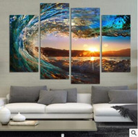 More Panel Oil Painting Fashion 4 Panels Modern Seascape Painting Canvas Art HD Sea Wave Landscape Wall Picture For Bed Room Unframed No Frame Gift Oil Picture