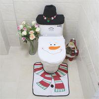 art rug - set Funny Santa Claus Toilt Lid Tank Cover Foot Pad Christmas Decoration Bathroom Rug Christmas Ornament Home Art