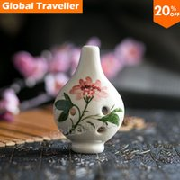 Wholesale Hand painted crack drawing flower vertical with Hole Kiln fired Alto C Ceramic Ocarina Flute with bag