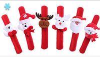 Wholesale 2016 Latest Christmas glow bracelets present Flap ring wristband led slap bracelet elk snowman Three sets