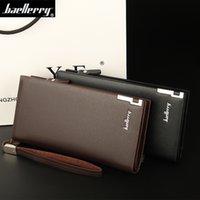 Wholesale Baellerry Business Men Wallet Solid PU Leather Long Wallet Portable Cash Purses Standard Designer Wallets Male Clutch Bag