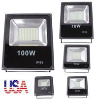al por mayor 50w led light-Stock en los EEUU los reflectores llevados al aire libre de los EEUU + 10W 20W 30W 50W 100W impermeabilizan IP65 llevó la lámpara 85-265V del paquete de la pared de las luces de inundación que envía libremente