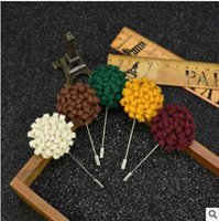 Wholesale High grade handmade cloth art man suit brooch brooches accessories wool long needle seventeen colors shipping free