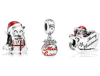 baubles and beads - 3pcs DIY Loose Sets Sterling Silver Charms and Murano Glass Bead Fits European Jewelry Charm Bracelets Merry Christmas Bauble