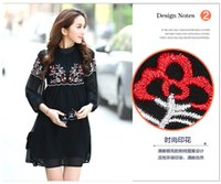 Wholesale High end maternity summer and autumn Korean embroidery temperament large code dress chiffon black color fashion