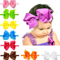 big hair bands - 16 colors Baby Girls Stretch Bow Headbands Infant big bow hair band cute Hair Accessories inches C1743