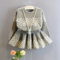 Wholesale Female baby girl child twinset autumn fashion casual child knitted pullover short half length skirt twinset