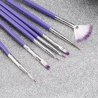 Wholesale 7 nail pens Purple Painted carved rhinestone pull brush pen set nail art brush set nail art brush