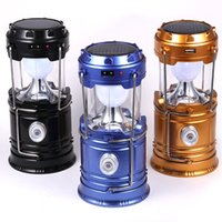 Wholesale Solar camping lamp amphibious type rechargeable camping lantern multi function folding portable outdoor camping lamp lighting