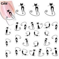 beauty nail wraps - sheet Cute Black Cat Nail Sticker Nail Art Water Transfer Decals DIY Beauty Polish Manicure Wraps Decoration Tools STZ