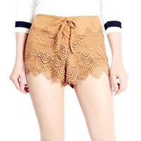Wholesale New Arrival Summer Korean Style Loose Lace Suede Casual Women s Shorts Lady s Skinny Slim Hollow Out Drawstring Shorts Shirt
