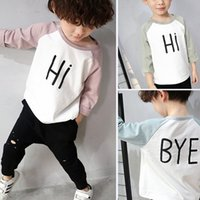Wholesale kids Spring clothing New Letter Long Sleeve round collar Boys T Shirts Fashion Korean color matching Children Tops C093