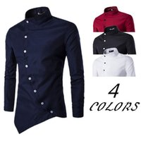Wholesale PHSH Spring Autumn Personality Men Oblique Buttons Long Sleeve Shirt
