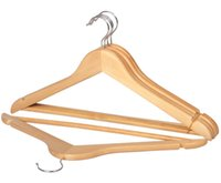adjustable clothes bar - 44 cm Solid Wood Hanger for Adult Clothes Suit Coat Skirts Trousers Hangers with Pants Bar Anti slip Wooden Racks sandal wood
