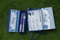 Wholesale Special Chinese Gift Style Dinnerware Set Spoon Chopsticks Scoop Blue and White Porcelain Wedding Gift