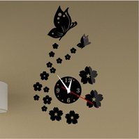 Wholesale Crystal stereo wall clocks household butterfly flowers mirror wall clock stickers sitting room bedroom background adornment