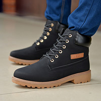 Wholesale Autumn Winter Fashion New Men Lace Up PU Leather Shoes Plus Size Mens High top Casual Men Thick Snow Boots O1365