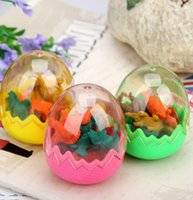 Wholesale egg Cute Kawaii Rubber School Eraser Dinosaur Shape Pencil Erasers For Kids School Office Supplies