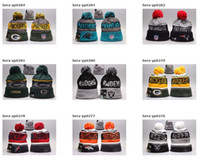 Wholesale Hot New Beanies Heather Gray Sideline Sport Knit Hat Baseball Football Pom Knit Hats Sports Cap Beanies Hat Mix Match Order All Caps