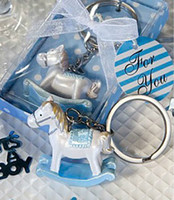 Wholesale 2 Clors Baby Shower Favors Party gifts Keychains for Guest Girls and Boys Hobbyhorse Key Chain Gift Boxes for Baby Shower