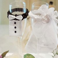 Wholesale Bride Groom Romantic Wedding Party Wine Glasses Decoration Cup Decor Lace