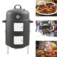 Wholesale New Inch Easy Assembly BBQ grill Security Barbecue Fumes Furnace Steel Smoker Barbecue Grilll with Build in Thermometer Round Shape Grill