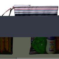 Vente en gros-Oxford tissu rayure couleur solide sac protable pour bébé sac à couches sacs lavables avec fermeture éclair réutilisable mouillé sec étanche