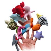 Wholesale Cute Marine Animal Finger Puppets Velvet Toy Storytelling Doll