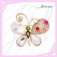 Wholesale 100PCS China Fashion Jewelry Promotional newest white crystal butterfly brooch for wedding invitations