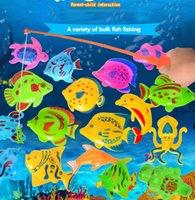 Venta al por mayor-20pcs juguetes de pesca magnéticos de plástico con pescado red de Rod para los niños de juegos educativos de pesca de niños juguetes al aire libre para niños