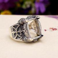 bezel set princess - Sterling Silver Art Deco Vintage Man Ring x16mm Princess Cabochon Setting Engagement Wedding Ring Art Nouveau Open Adjustable