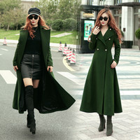 Wholesale 2017 Luxury Green Overcoats Women s Christmas Long Wool Blends Coats Woman Casual Formal Dress Winter Warm Outwear Clothes Dropshipping